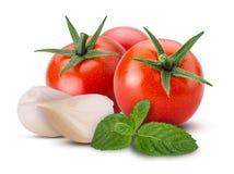 Verduras frescas tomate rojo, ajo, menta imagen de archivo