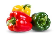 Verduras frescas tres rojos dulces, amarillo, verde Imagen de archivo libre de regalías