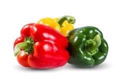 Verduras frescas tres rojos dulces, amarillo, verde Fotos de archivo