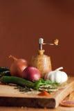 Verduras frescas y diversas especias Imagenes de archivo