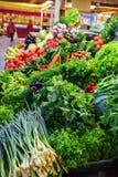 Verduras frescas y orgánicas en el mercado de los granjeros: raddish, tomates, eneldo, ensalada, onoins verdes, ajo fotos de archivo