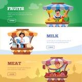 Verduras, leche y carne locales de la venta por agricultores del mercado Imagen de archivo libre de regalías