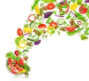 Verduras mezcladas frescas que caen en un cuenco de ensalada Imagen de archivo