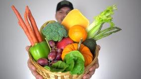 Verduras naturales sanas de las frutas orgánicas frescas de la cesta de la tenencia del hombre del granjero del retrato metrajes