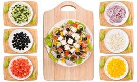 Verduras para el collage griego del ingrediente de la ensalada foto de archivo libre de regalías