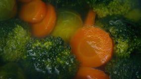 Verduras que cocinan en el cocido al vapor del agua al vapor almacen de metraje de vídeo