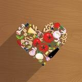 Verduras, quesos, pastas, setas maduras y especias presentados en la forma de un coraz?n en fondo de madera Amor para ilustración del vector