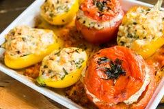 Verduras rellenas cocidas en el horno Sobre la visión Foto de archivo libre de regalías
