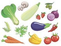 Verduras Sistema de ejemplos de color simples stock de ilustración
