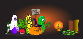 Verduras vivas de la historieta en los disfraces de Halloween truco-o-que tratan delante de los pequeños guisantes asustados Stock de ilustración