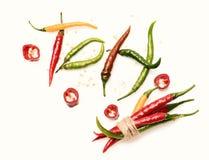Verduras y concepto vegetariano de la dieta CALIENTE de la palabra construido del chile imagen de archivo libre de regalías