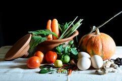 Verduras y el cocinar Fotografía de archivo
