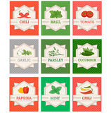Verduras y etiquetas fijadas especias, Imágenes de archivo libres de regalías