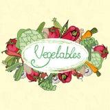 Verduras y frutas con una letra en estilo del vintage stock de ilustración