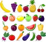 Verduras y frutas de la historieta Fotografía de archivo libre de regalías
