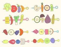Verduras y frutas de la parrilla del garabato Foto de archivo libre de regalías