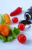 Verduras y guisantes de la pimienta Fotos de archivo