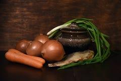 Verduras y pescados Foto de archivo libre de regalías