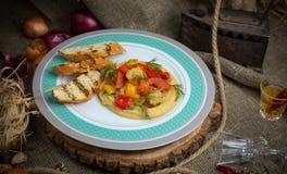 Verdure al forno con i crostini fotografia stock libera da diritti