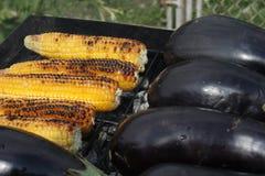 Verdure arrostenti col barbecue sul fuoco del carbone Immagine Stock