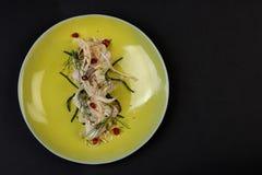 Verdure con salsa, haute cuisine, aperitivo gastronomico fotografia stock