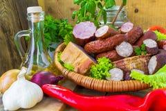 Verdure del bacon della salsiccia delle carni dell'assortimento Fotografia Stock Libera da Diritti