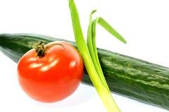 Verdure del cetriolo della cipolla del pomodoro Fotografie Stock Libere da Diritti
