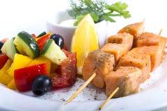 Verdure del pesce delle fette Immagini Stock Libere da Diritti