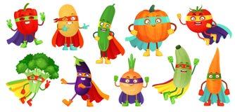 Verdure del supereroe Cetriolo eccellente, maschera dell'eroe sulla zucca ed alimento di verdure con il vettore del fumetto del m illustrazione vettoriale