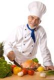 Verdure di taglio del cuoco unico Immagini Stock