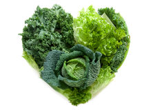 Verdure di verde di forma del cuore fotografia stock libera da diritti
