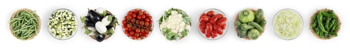 Verdure di vista superiore dell'alimento isolate sul piano di lavoro bianco della cucina, web Fotografia Stock Libera da Diritti