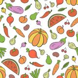 Verdure e frutta Modello senza cuciture nello stile del fumetto e di scarabocchio colorful illustrazione vettoriale
