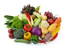 Verdure e frutta su priorità bassa bianca Immagini Stock Libere da Diritti
