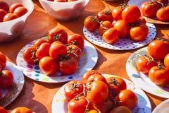 Verdure e mercato di frutta con la varie frutta e verdure fresche variopinte Pomodori Fotografia Stock