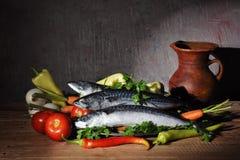 Verdure e pesci Immagini Stock Libere da Diritti