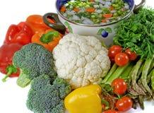 Verdure e POT di minestra. Isolato. immagini stock libere da diritti