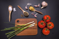 Verdure e spezie per cucinare Fotografia Stock