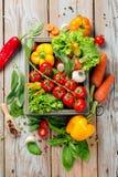 Verdure ed erbe fresche dell'azienda agricola su fondo rustico Fotografie Stock