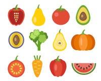 Verdure ed icone di frutti Fotografia Stock Libera da Diritti