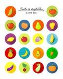 Verdure ed icone rotonde di vettore di frutti Fotografia Stock