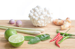 Verdure ed ingrediente per Tom Yum Fotografie Stock Libere da Diritti