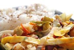 Verdure fritte con riso Fotografia Stock Libera da Diritti