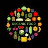 Verdure, frutta ed insieme piano delle icone di vettore delle bacche fotografia stock libera da diritti