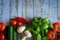 Verdure mature: pomodori, teste dell'aglio, peperoni, ramoscelli del basilico, cetrioli su un bello fondo fotografia stock