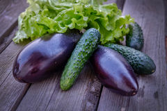 Verdure melanzana e cetrioli Fotografie Stock