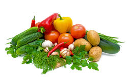 Verdure Mixed su una priorità bassa bianca Fotografie Stock