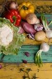 Verdure organiche degli agricoltori Mercato del raccolto, prodotti stagionali freschi Vista superiore, spazio della copia Immagini Stock