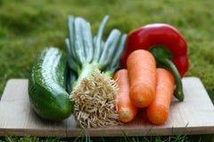 Verdure organiche su una scheda Immagini Stock