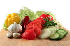 Verdure: peperoncino rosso, cipolla, aglio, pomodori Fotografia Stock